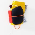 Condensated, 2020, fabrics, wood, elastic bands, reflector, 15 x 10 x 7 cm